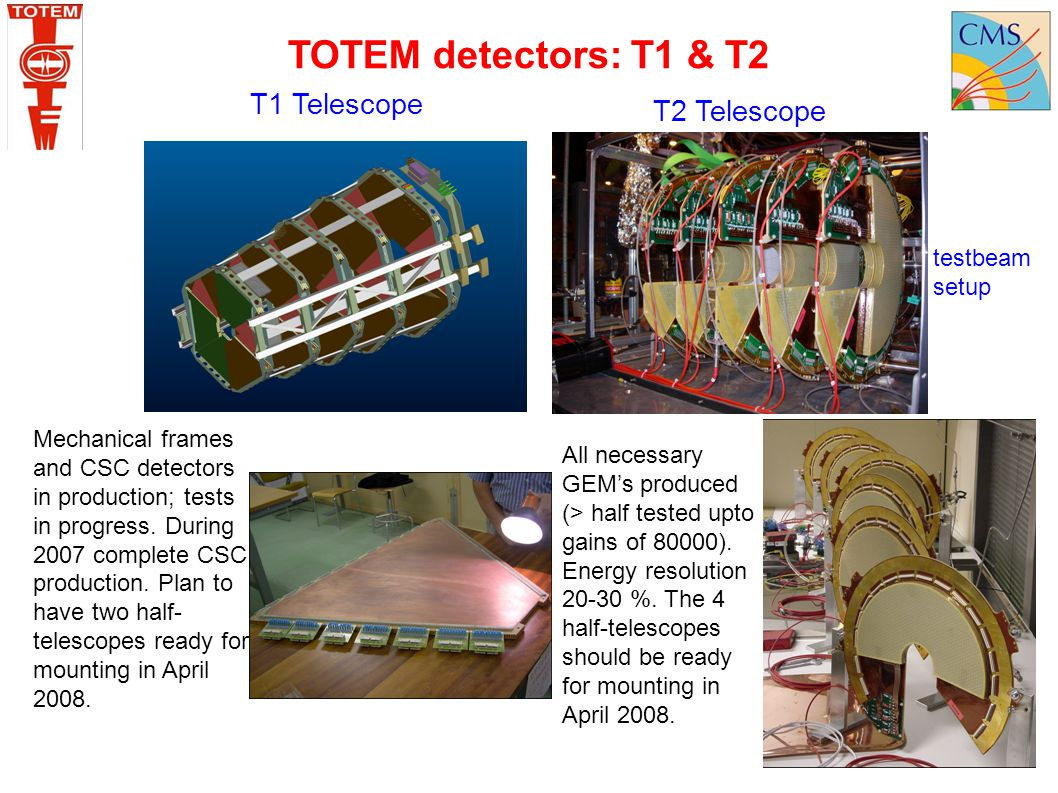T1 Telescope Mechanical frames and CSC detectors in production; tests in progress. During 2007 complete CSC production. Plan to have two half- telesco