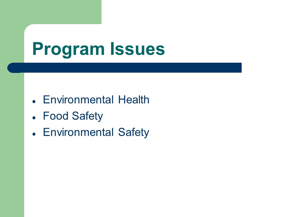 Program Issues Environmental Health Food Safety Environmental Safety