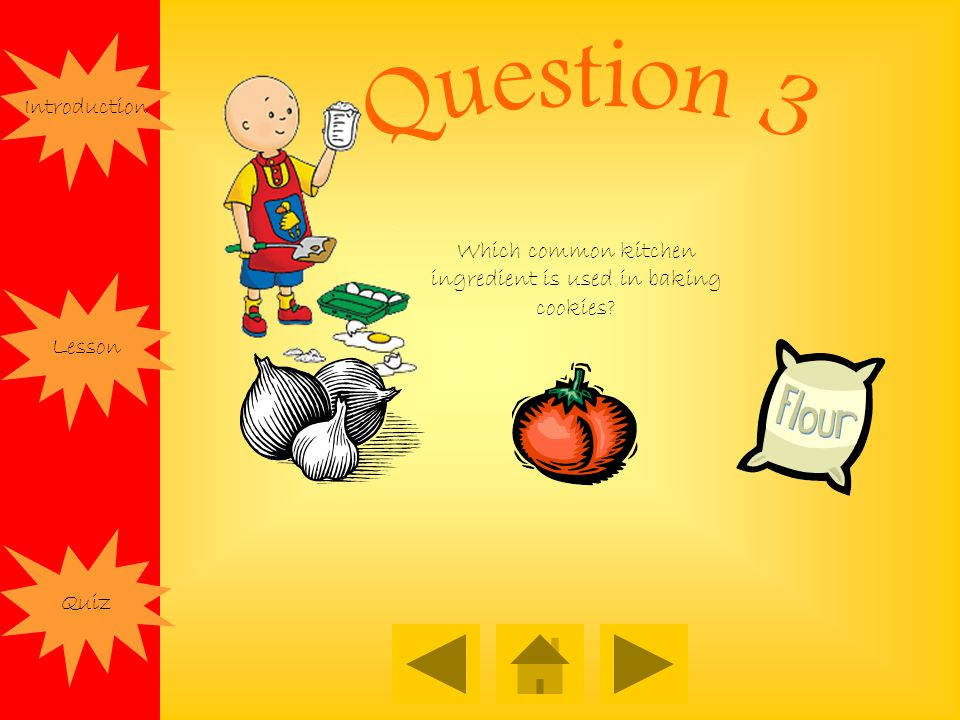 Introduction Lesson Quiz Which common kitchen ingredient is used in baking cookies?