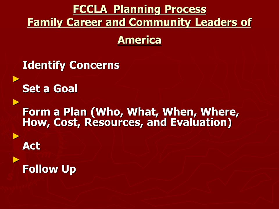 FCCLA Planning Process Family Career and Community Leaders of America Identify Concerns ► Set a Goal ► Form a Plan (Who, What, When, Where, How, Cost, Resources, and Evaluation) ► Act ► Follow Up