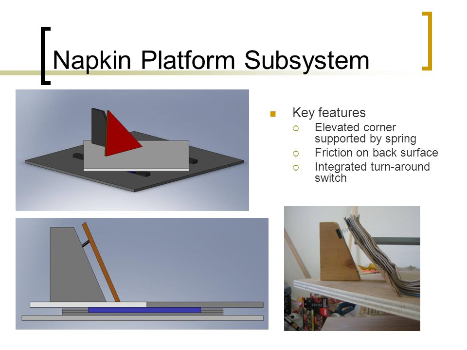 Napkin Platform Subsystem Key features  Elevated corner supported by spring  Friction on back surface  Integrated turn-around switch