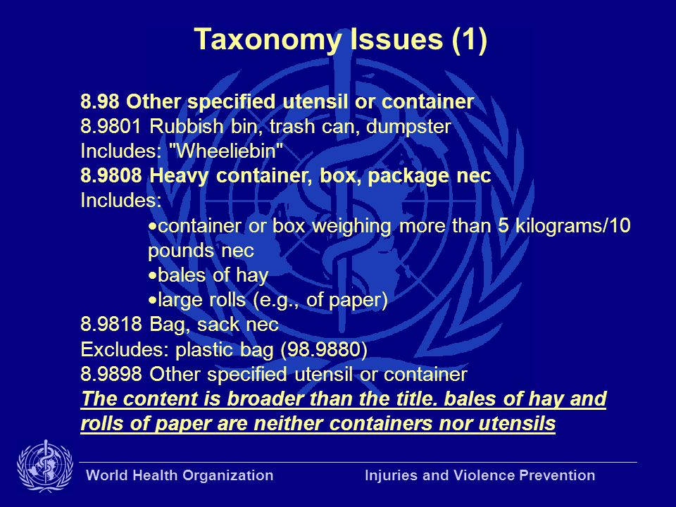 World Health Organization Injuries and Violence Prevention Taxonomy Issues (1) 8.98 Other specified utensil or container 8.9801 Rubbish bin, trash can, dumpster Includes: Wheeliebin 8.9808 Heavy container, box, package nec Includes:  container or box weighing more than 5 kilograms/10 pounds nec  bales of hay  large rolls (e.g., of paper) 8.9818 Bag, sack nec Excludes: plastic bag (98.9880) 8.9898 Other specified utensil or container The content is broader than the title.