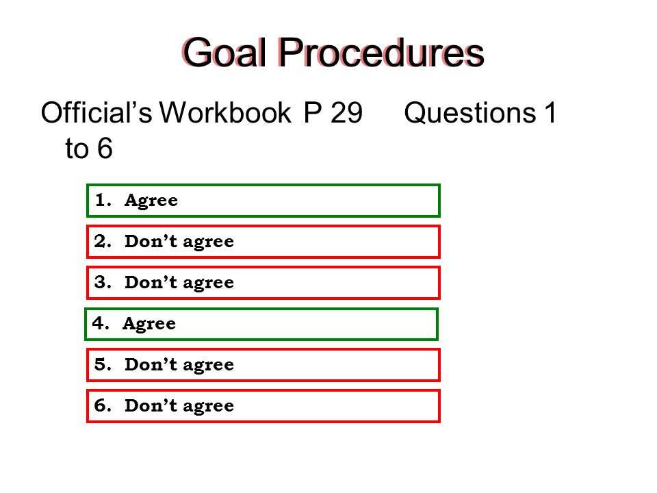 Goals Procedures Official's Workbook PAGE 29 Question 1 to 6 2:001:301:000:300:00