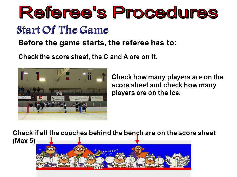 Start Of The Game Before the game starts, the referee has to: Check how many players are on the score sheet and check how many players are on the ice.