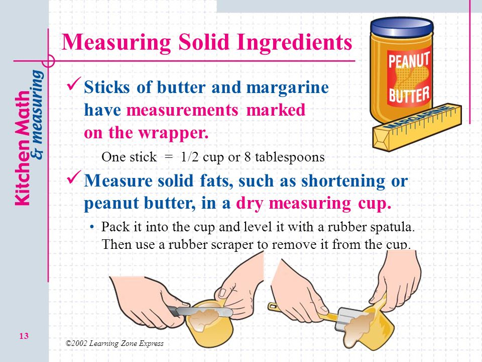 ©2002 Learning Zone Express 13 Measuring Solid Ingredients Sticks of butter and margarine have measurements marked on the wrapper.