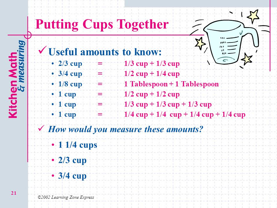 ©2002 Learning Zone Express 21 Putting Cups Together Useful amounts to know: 2/3 cup=1/3 cup + 1/3 cup 3/4 cup=1/2 cup + 1/4 cup 1/8 cup=1 Tablespoon + 1 Tablespoon 1 cup=1/2 cup + 1/2 cup 1 cup=1/3 cup + 1/3 cup + 1/3 cup 1 cup=1/4 cup + 1/4 cup + 1/4 cup + 1/4 cup How would you measure these amounts.