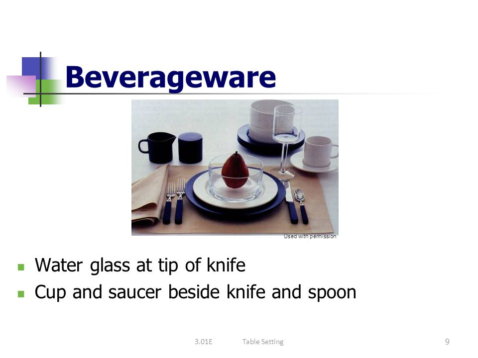 Beverageware Water glass at tip of knife Cup and saucer beside knife and spoon Used with permission 9 3.01ETable Setting