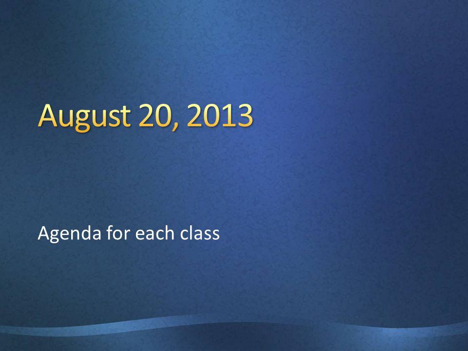 Agenda for each class