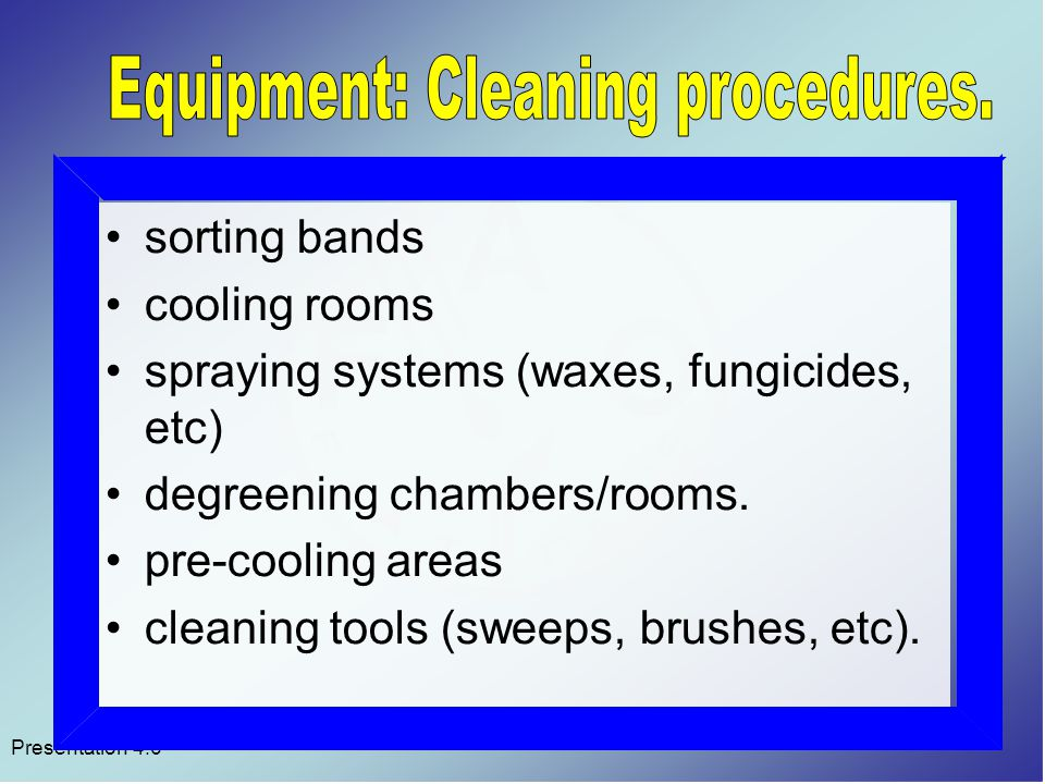 sorting bands cooling rooms spraying systems (waxes, fungicides, etc) degreening chambers/rooms.