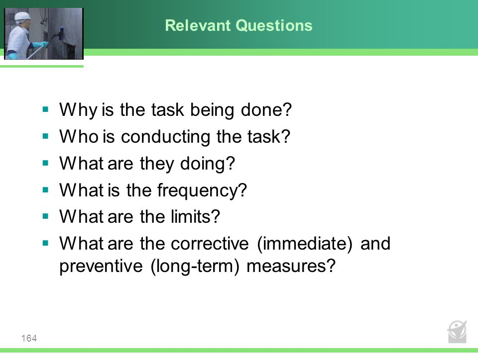Relevant Questions  Why is the task being done?  Who is conducting the task?  What are they doing?  What is the frequency?  What are the limits?