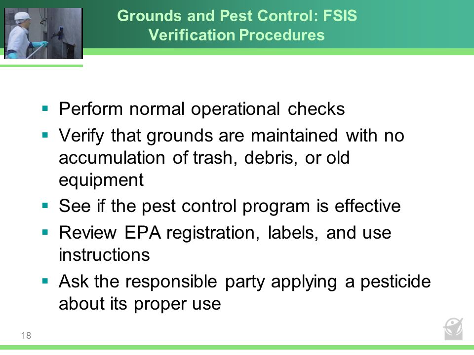Grounds and Pest Control: FSIS Verification Procedures  Perform normal operational checks  Verify that grounds are maintained with no accumulation o