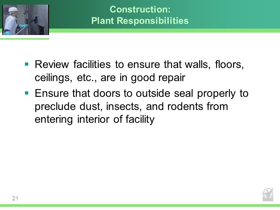 Construction: Plant Responsibilities  Review facilities to ensure that walls, floors, ceilings, etc., are in good repair  Ensure that doors to outsi