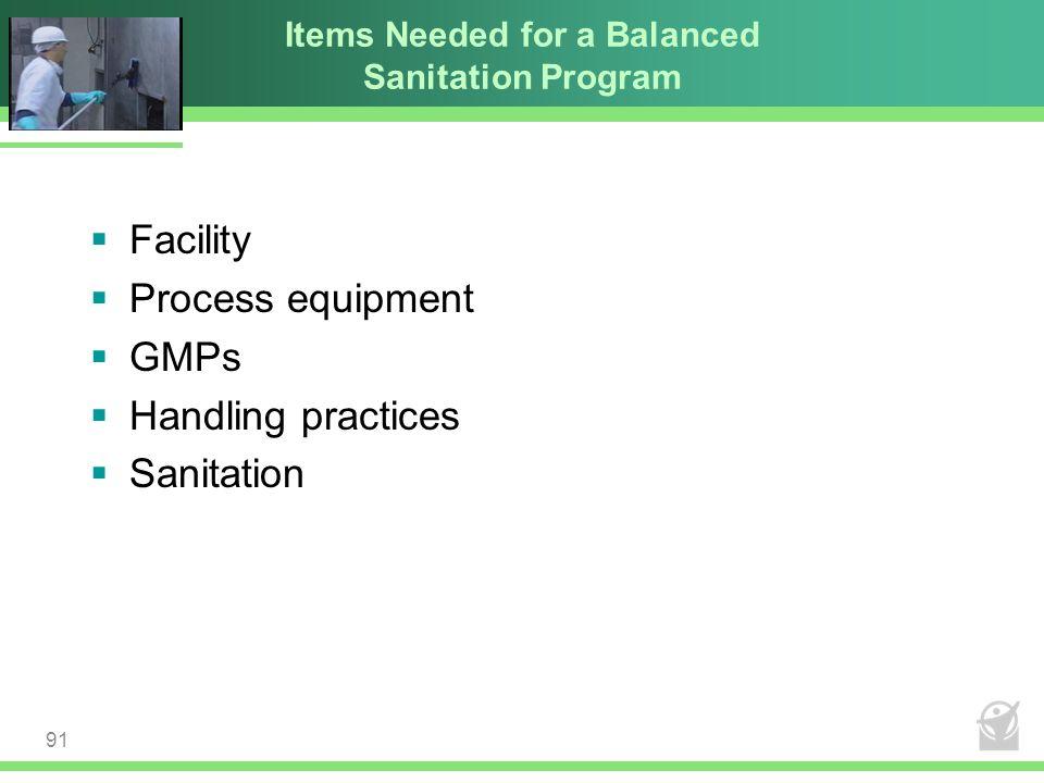 Items Needed for a Balanced Sanitation Program  Facility  Process equipment  GMPs  Handling practices  Sanitation 91
