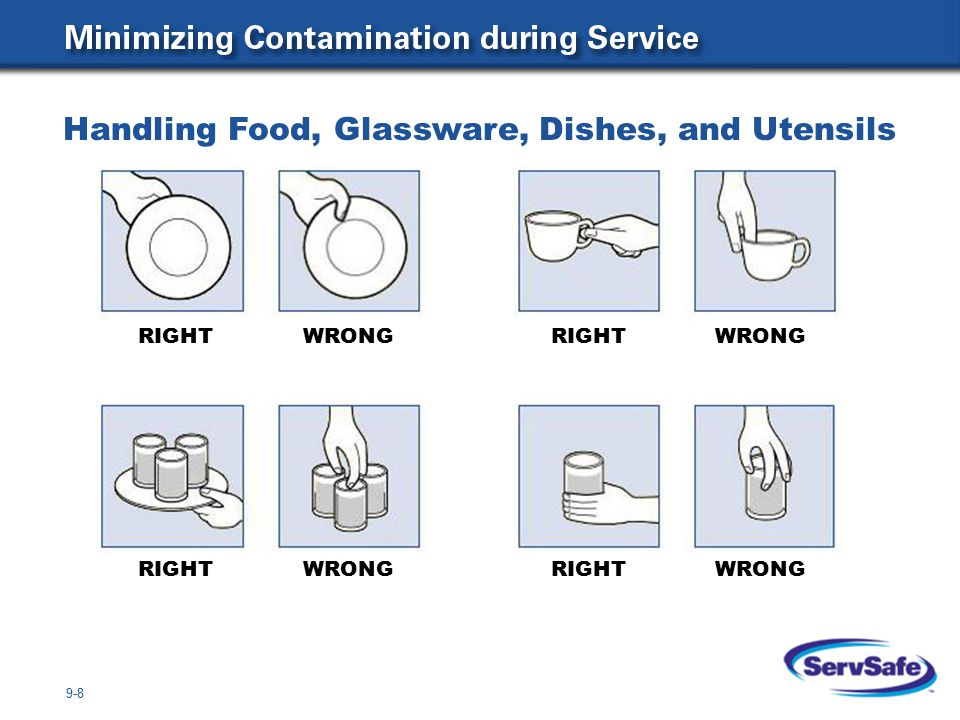 9-9 RIGHTWRONGRIGHTWRONG RIGHT WRONG RIGHTWRONG Handling Food, Glassware, Dishes, and Utensils continued