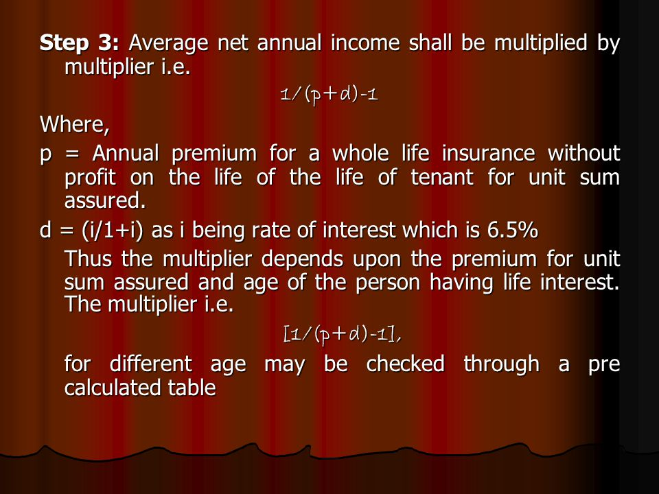 Step 3: Average net annual income shall be multiplied by multiplier i.e.