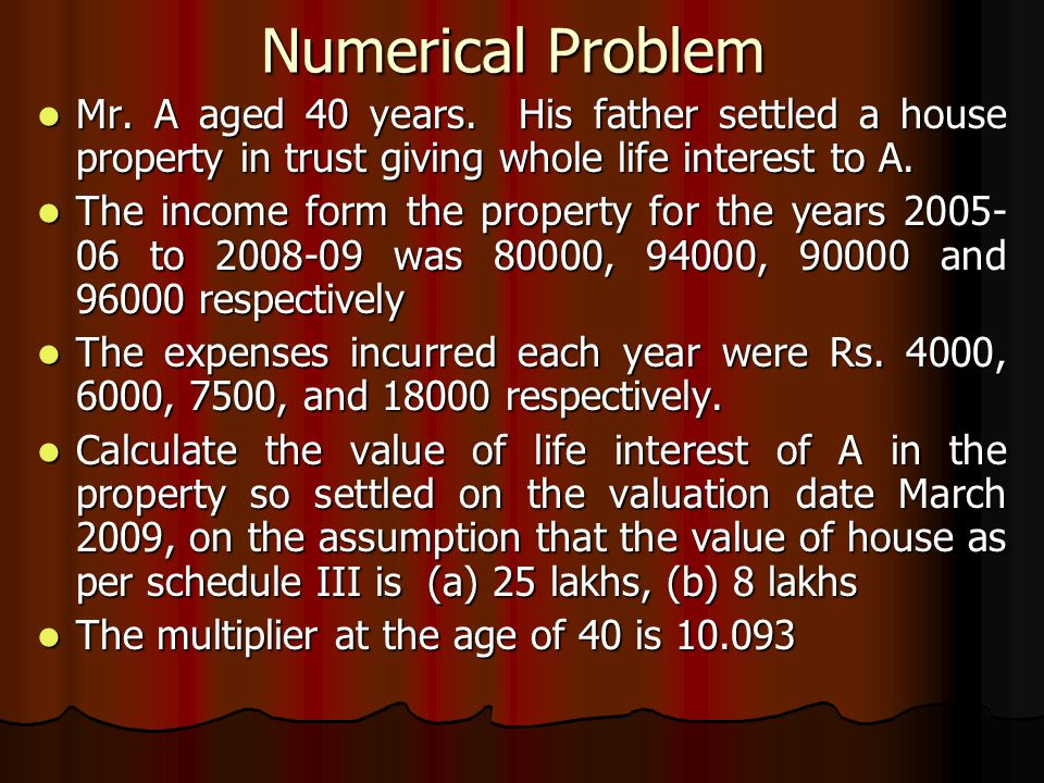 Numerical Problem Mr. A aged 40 years.