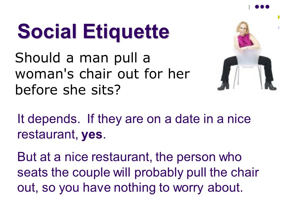 Social Etiquette Should a man pull a woman s chair out for her before she sits.
