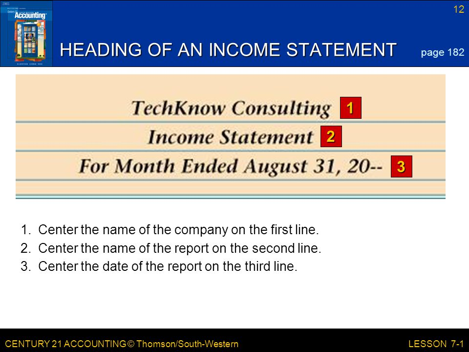 CENTURY 21 ACCOUNTING © Thomson/South-Western 12 LESSON 7-1 HEADING OF AN INCOME STATEMENT 1 2 3 page 182 1.Center the name of the company on the first line.