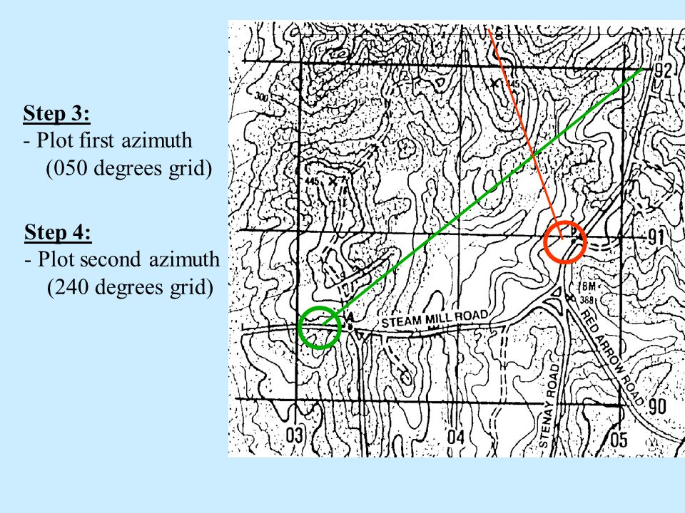 Step 3: - Plot first azimuth (050 degrees grid)