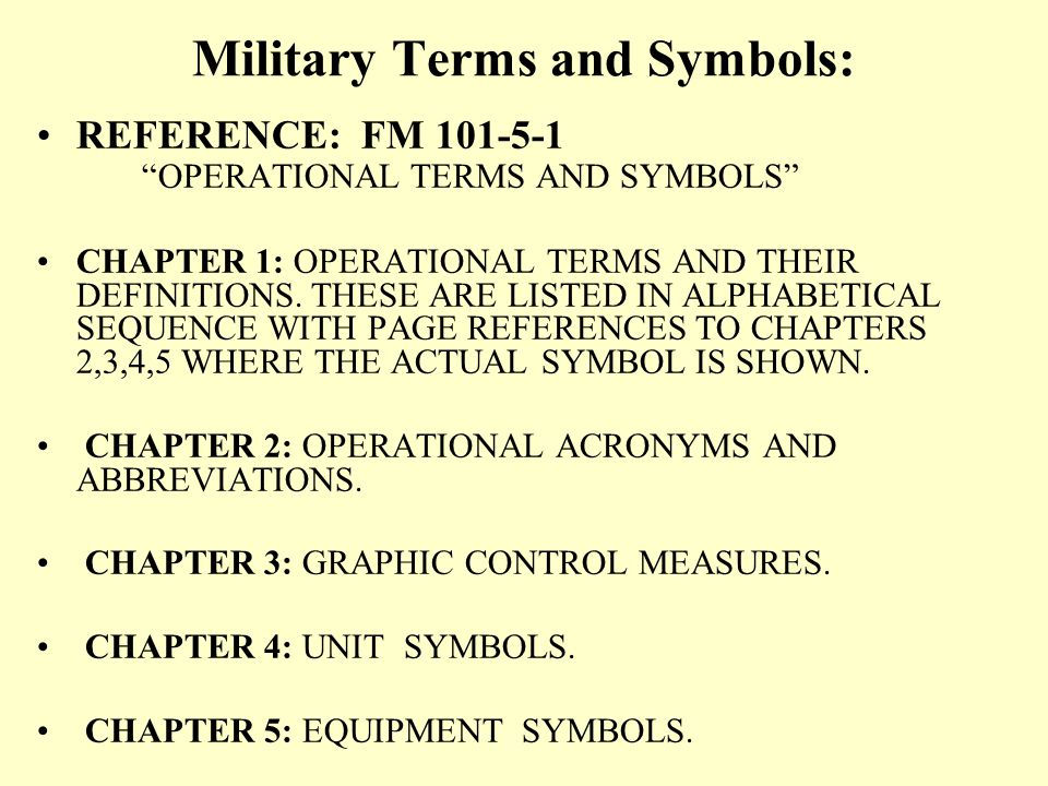 Action: Demonstrate the ability to Identify Military terms and symbols on a Map Overlay. Condition: In a classroom environment, given a block of instr