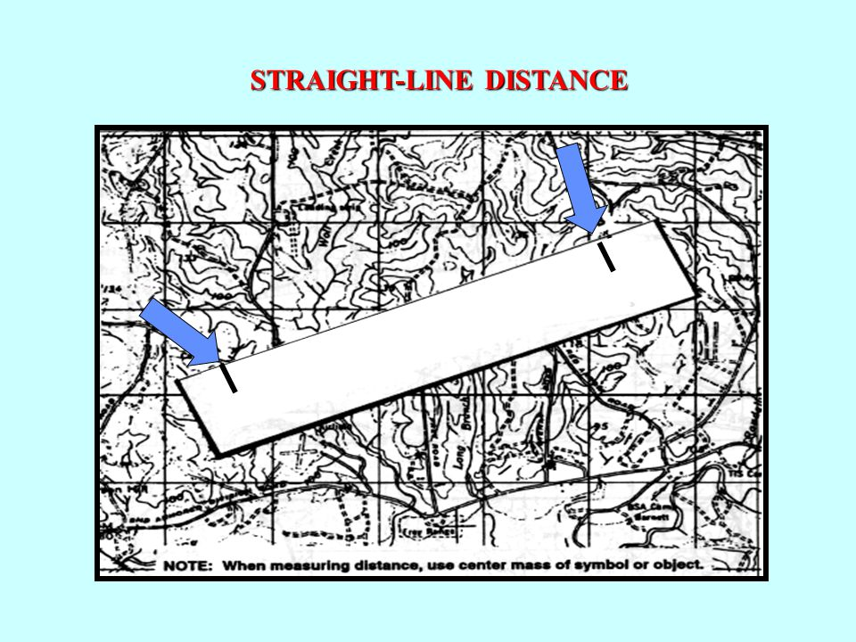 Measuring Distance on a Military Map: STRAIGHT-LINE DISTANCE: To determine straight-line distance between two points on a map, lay a straight-edged pi