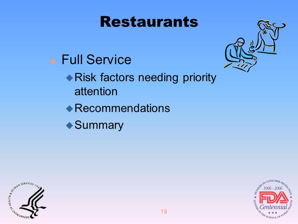 19 Restaurants n Full Service u Risk factors needing priority attention u Recommendations u Summary