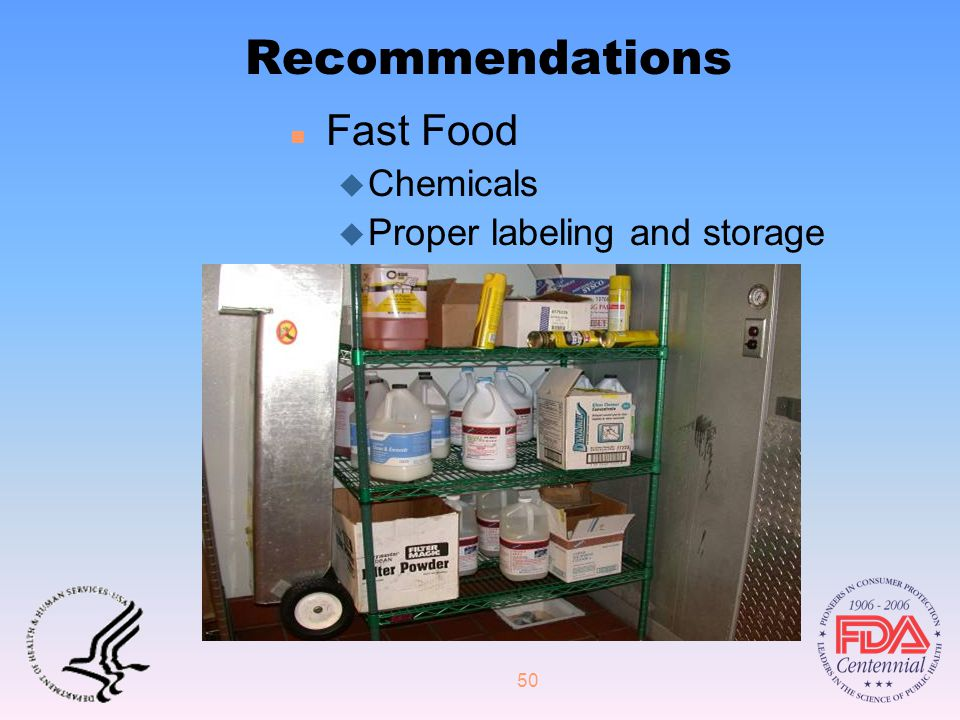 50 Recommendations n Fast Food u Chemicals u Proper labeling and storage