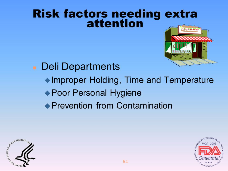 54 Risk factors needing extra attention n Deli Departments u Improper Holding, Time and Temperature u Poor Personal Hygiene u Prevention from Contamination