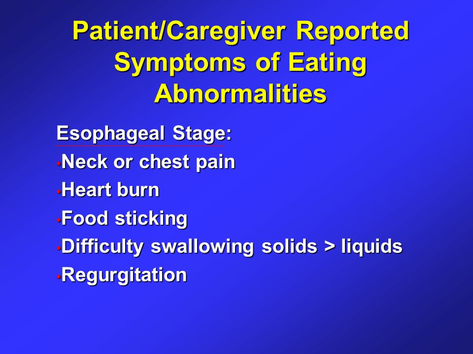 Patient/Caregiver Reported Symptoms of Eating Abnormalities Esophageal Stage: Neck or chest pain Neck or chest pain Heart burn Heart burn Food sticking Food sticking Difficulty swallowing solids > liquids Difficulty swallowing solids > liquids Regurgitation Regurgitation