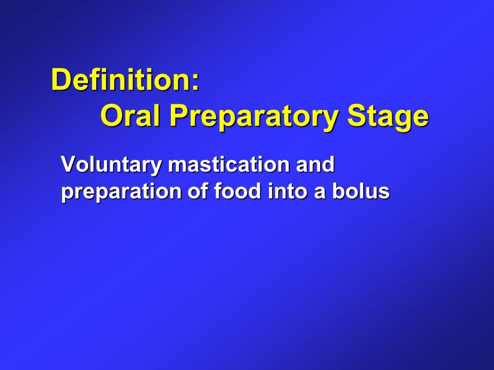 Definition: Oral Transport Stage Voluntary posterior movement of a bolus from the tip of the tongue to the anterior tonsillar pillars