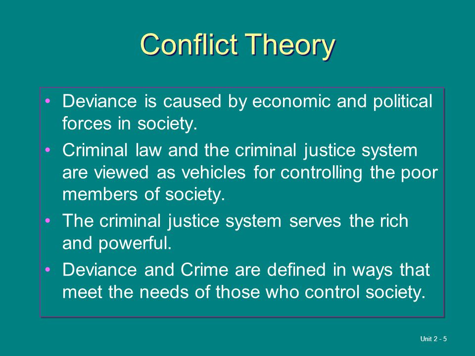 Conflict Theory Deviance is caused by economic and political forces in society.