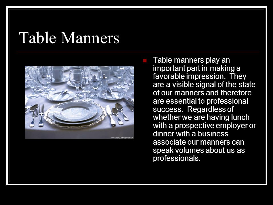 Dining Etiquette Tiffanys Table Manners 2