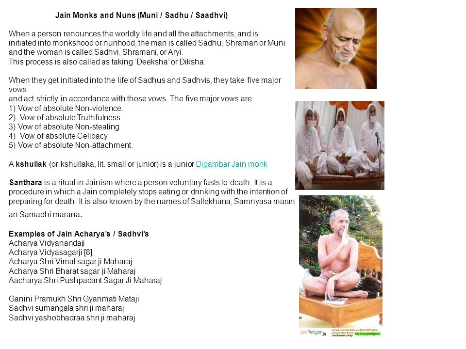 Jain Monks and Nuns (Muni / Sadhu / Saadhvi) When a person renounces the worldly life and all the attachments, and is initiated into monkshood or nunh