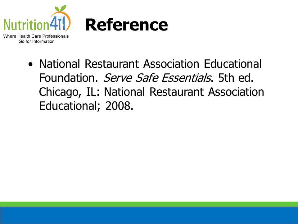 Reference National Restaurant Association Educational Foundation.
