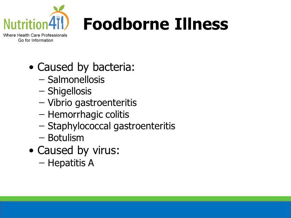 Foodborne Illness Caused by bacteria: ̶ Salmonellosis ̶ Shigellosis ̶ Vibrio gastroenteritis ̶ Hemorrhagic colitis ̶ Staphylococcal gastroenteritis ̶ Botulism Caused by virus: ̶ Hepatitis A