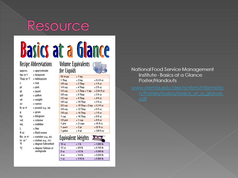 National Food Service Management Institute - Basics at a Glance Poster/Handouts www.olemiss.edu/depts/nfsmi/Informatio n/Posters/basics/basics_at_a_glance.