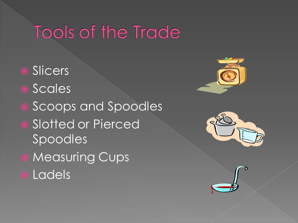  Slicers  Scales  Scoops and Spoodles  Slotted or Pierced Spoodles  Measuring Cups  Ladels