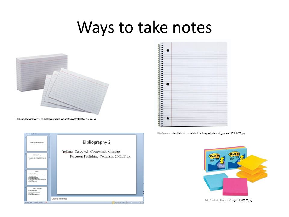 Ways to take notes http://content.etilize.com/Large/11965623.jpg http://www.sportswithatwist.com/sitebuilder/images/notebook_paper-1155x1077.jpg http://unapologeticallychristian.files.wordpress.com/2009/06/index-cards.jpg