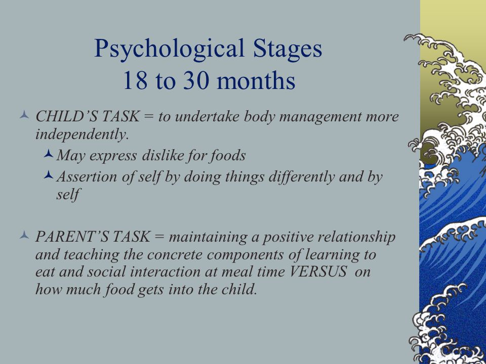 Psychological Stages 18 to 30 months CHILD'S TASK = to undertake body management more independently.