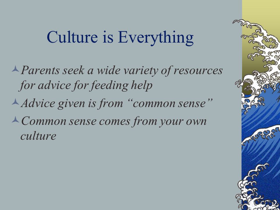 Culture is Everything Parents seek a wide variety of resources for advice for feeding help Advice given is from common sense Common sense comes from your own culture