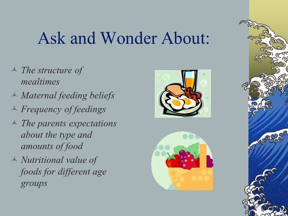 Ask and Wonder About: The structure of mealtimes Maternal feeding beliefs Frequency of feedings The parents expectations about the type and amounts of food Nutritional value of foods for different age groups