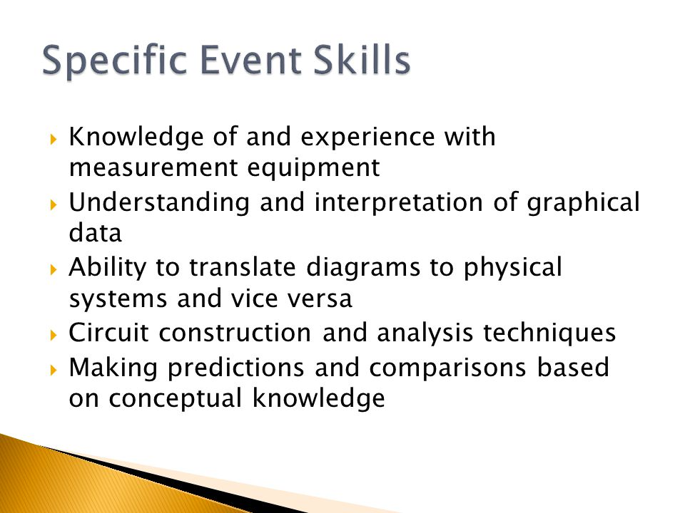  Knowledge of and experience with measurement equipment  Understanding and interpretation of graphical data  Ability to translate diagrams to physical systems and vice versa  Circuit construction and analysis techniques  Making predictions and comparisons based on conceptual knowledge
