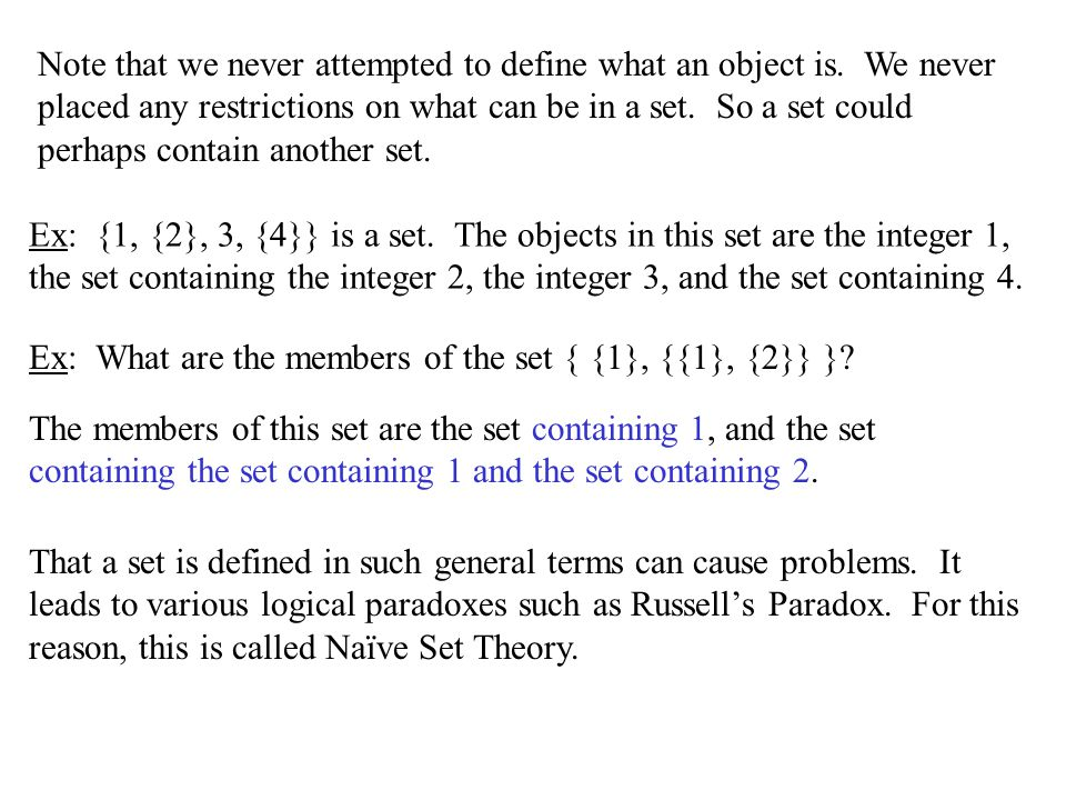 Some useful sets The Set of Natural Numbers: N = {0, 1, 2, …} –Note that there is some debate on 0.