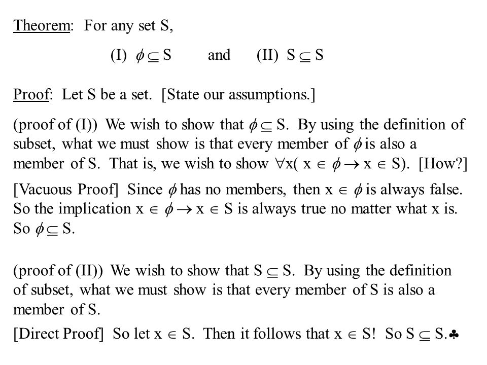 Def: The set A is called a proper subset of the set B if A  B and A  B.