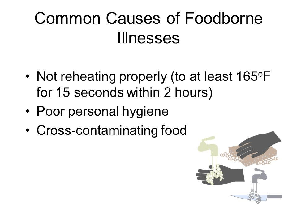 Common Causes of Foodborne Illnesses Not reheating properly (to at least 165 o F for 15 seconds within 2 hours) Poor personal hygiene Cross-contaminat