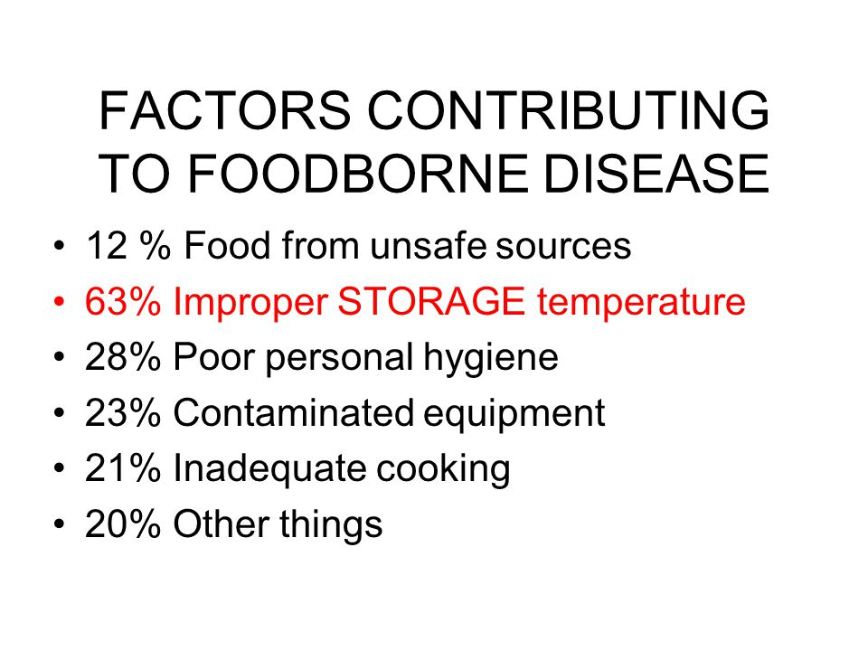 FACTORS CONTRIBUTING TO FOODBORNE DISEASE 12 % Food from unsafe sources 63% Improper STORAGE temperature 28% Poor personal hygiene 23% Contaminated eq