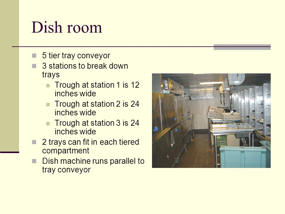Dish room 5 tier tray conveyor 3 stations to break down trays Trough at station 1 is 12 inches wide Trough at station 2 is 24 inches wide Trough at station 3 is 24 inches wide 2 trays can fit in each tiered compartment Dish machine runs parallel to tray conveyor