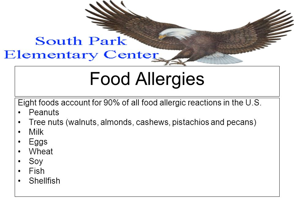 Food Allergies Eight foods account for 90% of all food allergic reactions in the U.S.