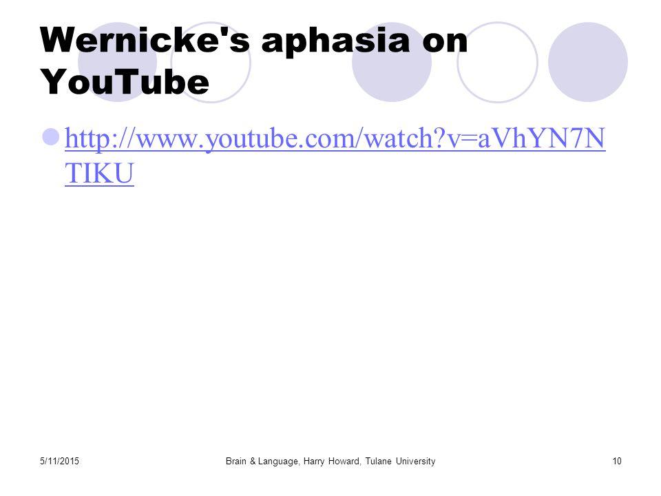5/11/2015Brain & Language, Harry Howard, Tulane University10 Wernicke s aphasia on YouTube http://www.youtube.com/watch v=aVhYN7N TIKU http://www.youtube.com/watch v=aVhYN7N TIKU