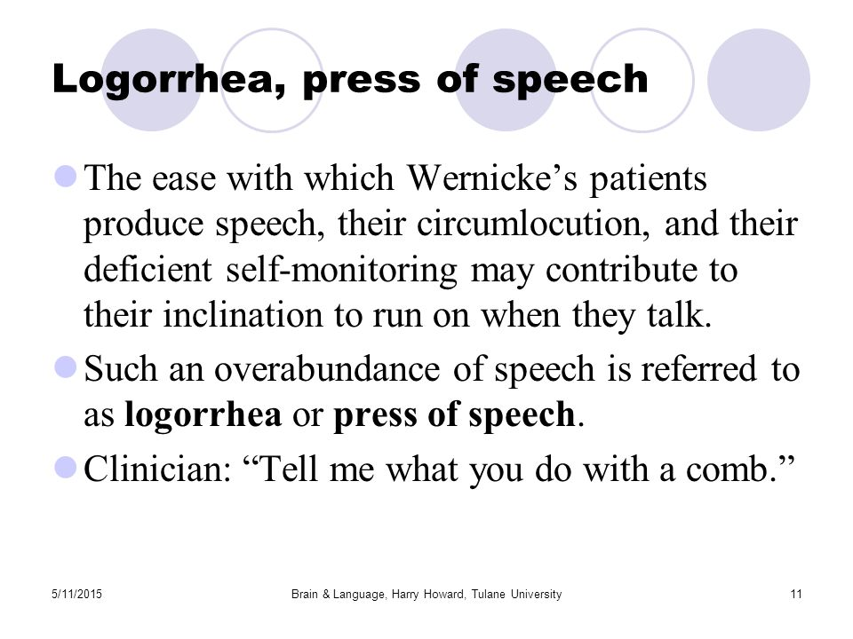 5/11/2015Brain & Language, Harry Howard, Tulane University11 Logorrhea, press of speech The ease with which Wernicke's patients produce speech, their circumlocution, and their deficient self-monitoring may contribute to their inclination to run on when they talk.